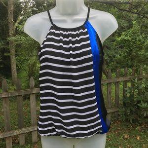 EXPRESS   black and white stripe halter top XS